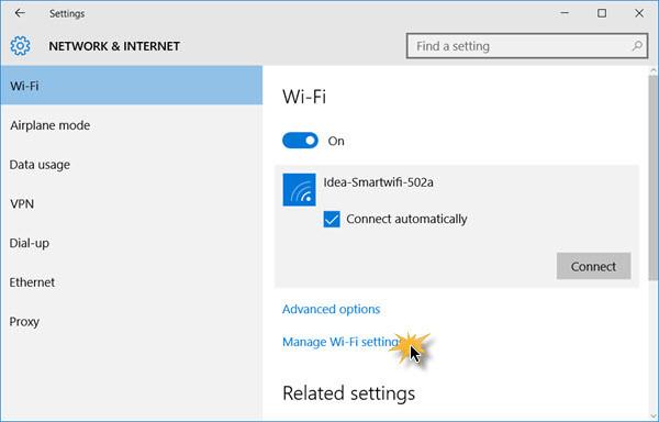 Profili di rete wireless