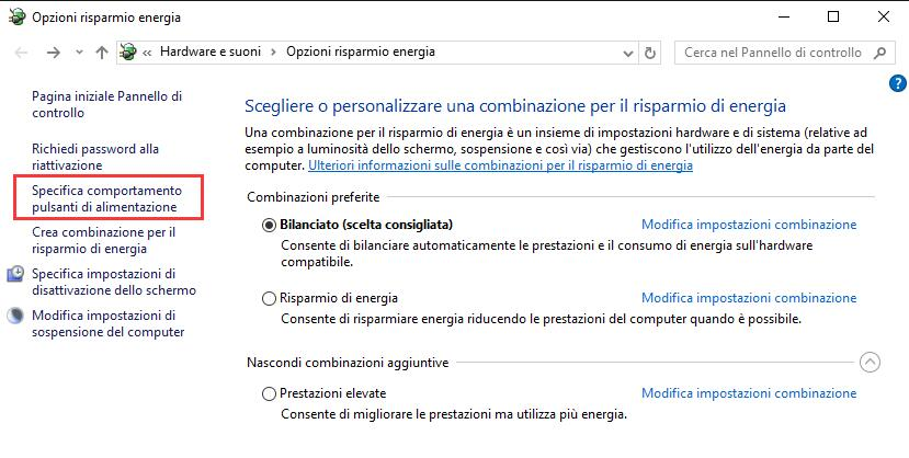 Avvio rapido di Windows 10
